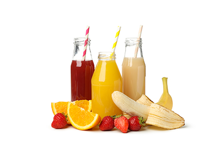 Group of different juices isolated on white background